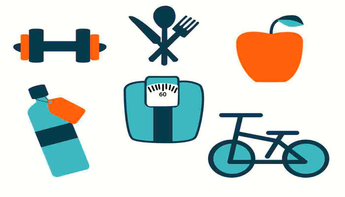 items for the what is the best diet for me scale, bike, dumbell, apple